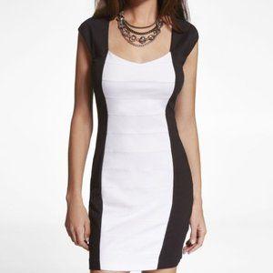 Express Black White Color Block Back Cut-Out Dress